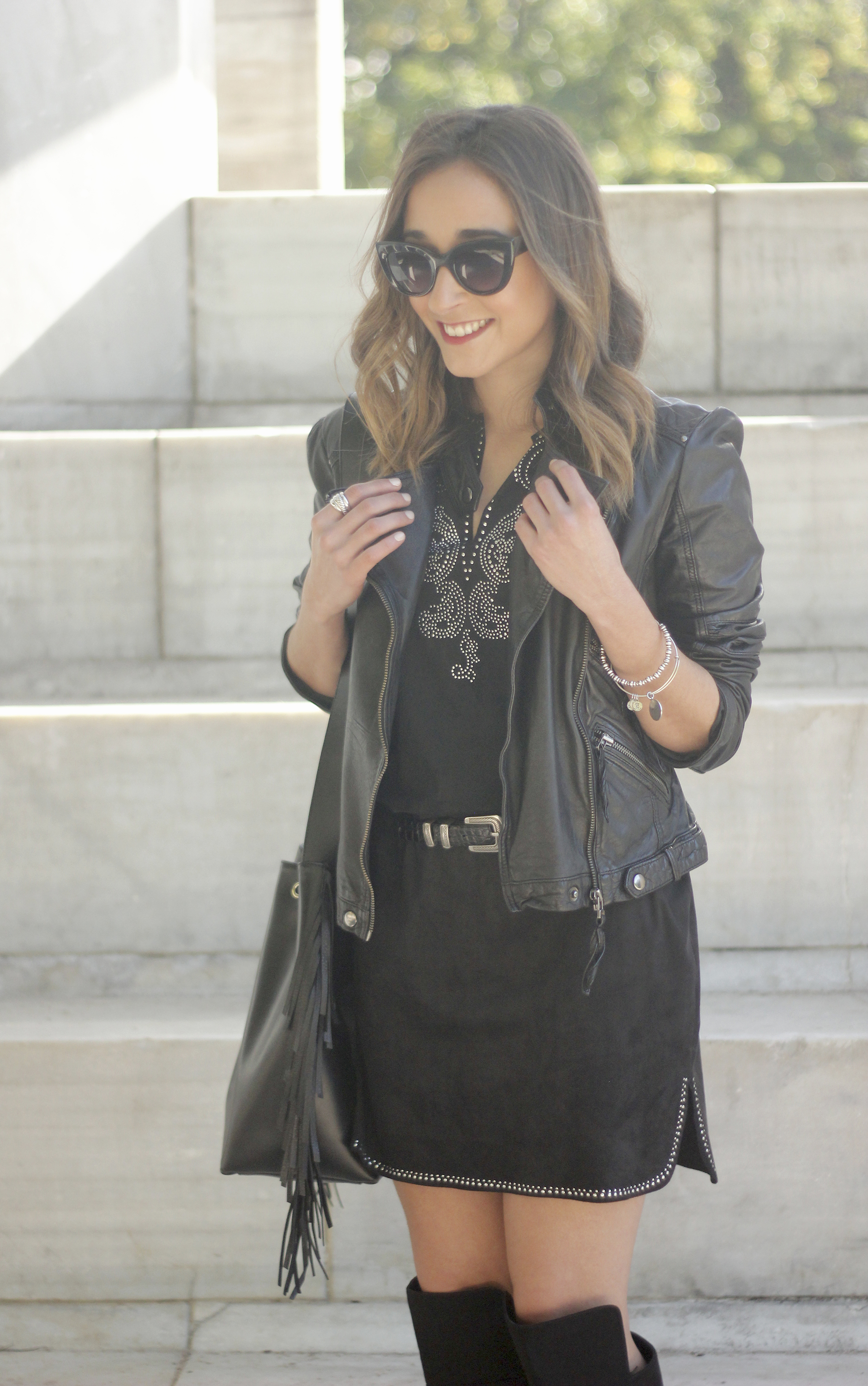 Black Leather jacket With Suede Black Dress Over the knee boots05