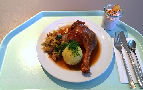 Duck leg with bavarian cabbage & potato dumpling / Entenkeule mit Bayrisch Kraut & Kartoffelknödel