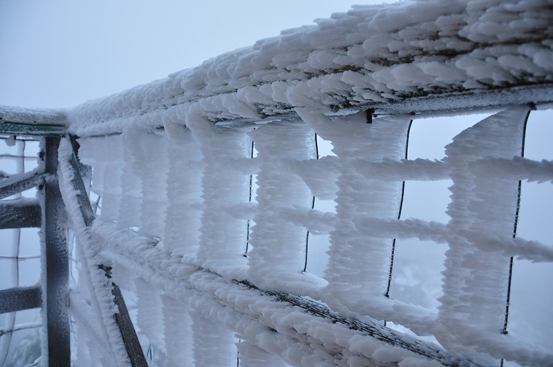 Icy railings