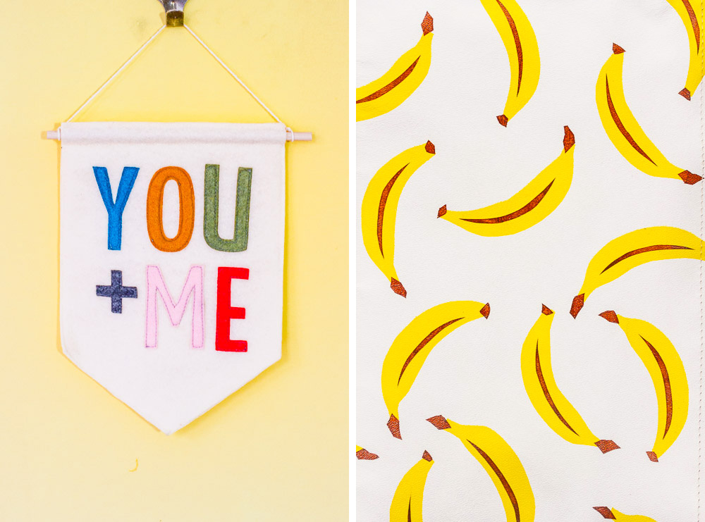 your + me wall hanging by connie clementine and banana print by jenny sibthorpe