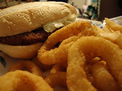 Onion Rings And Chicken Sandwich.