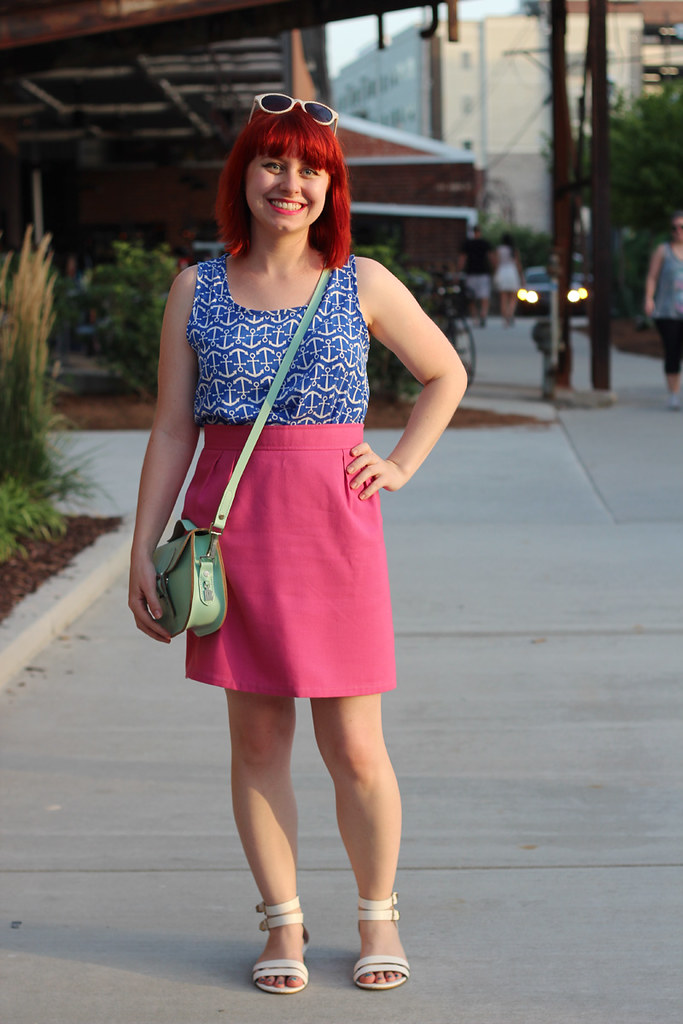 Pink Thrifted Pencil Skirt, Bright Blue Anchor Print Tank Top, Mint Green Purse, and White Sandals