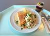 Salmon steak with with white wine sauce & vegetable rice / Lachssteak mit Weißweinsauce & Gemüsereis