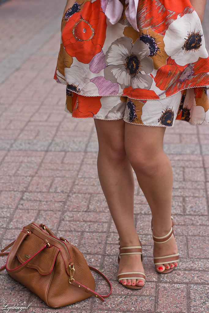 floral skirt, knotted button down, brown bag-6.jpg