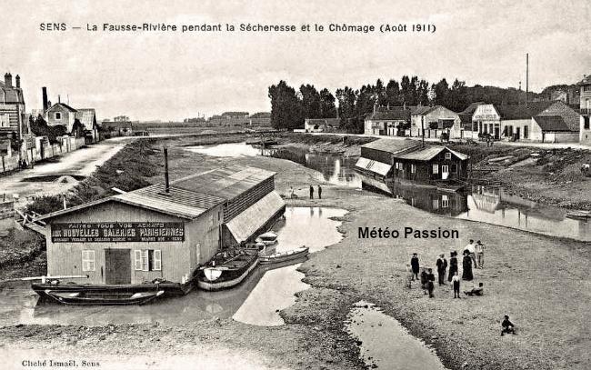 sécheresse et l'Yonne à sec à Sens durant l'été 1911 météopassion