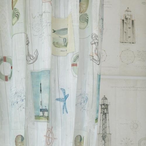 海洋船板 沙灘 貝殼海星 海鳥 救生圈 船錨 無接縫窗紗布 DB1890015
