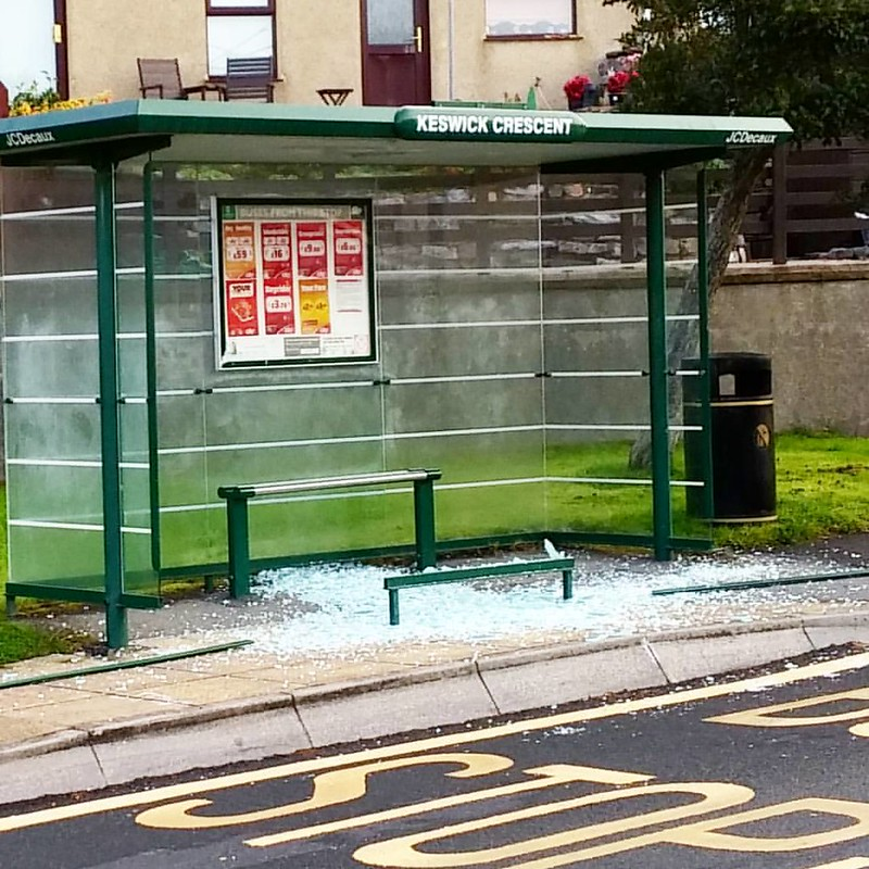 Some moron was obviously having fun last night as our bus stop was smashed along with several others in Estover. Looks like they have walked from Derriford Hospital smashing most of the stops along the way.