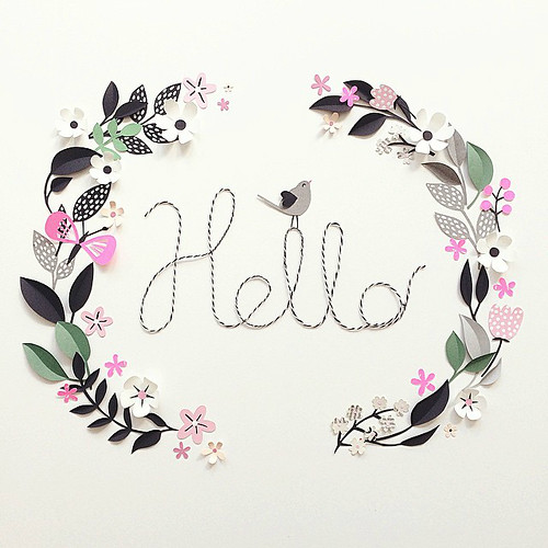 Hello Paper Flower Wreath by Hanna Nyman