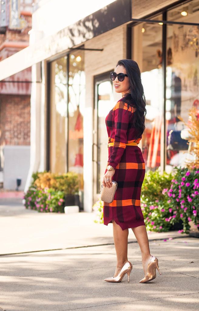 cute & little blog | petite fashion | marsala plaid knit sweater pencil skirt set, knotted belt, gold pumps | fall outfit