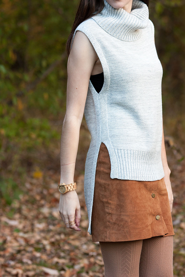 High Low Sleeveless Sweater, Tan Suede Skirt, Jord Watch