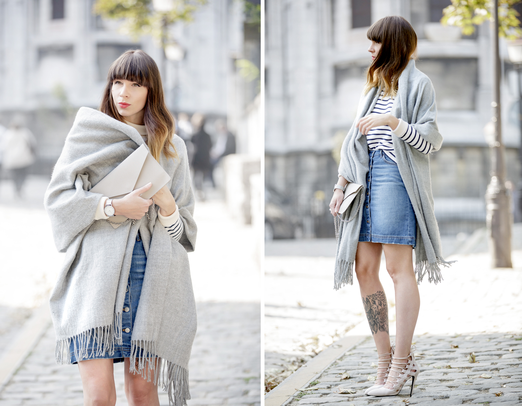 outfit ootd denim skirt grey scarf acne aquazzura high heels strappy montmartre sacre coeur paris streetstyle fashionblogger ricarda schernus cats & dogs blog pfw 1