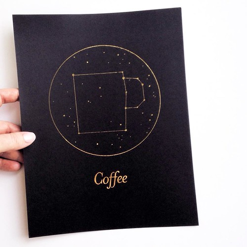 Coffee Gold Foil Art Print