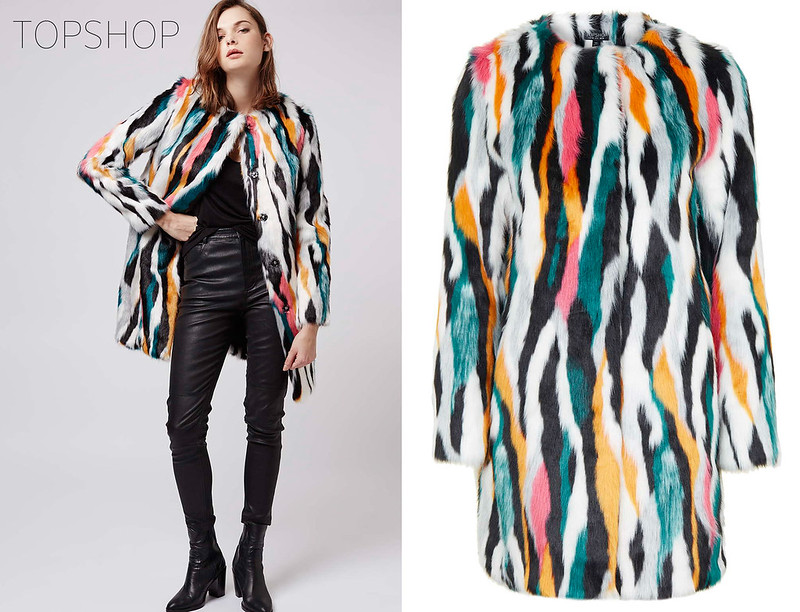 Topshop AW15 multi-coloured fur coat