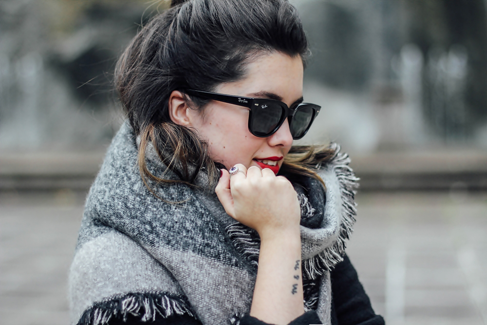 rayban meteor top knot hairstyle
