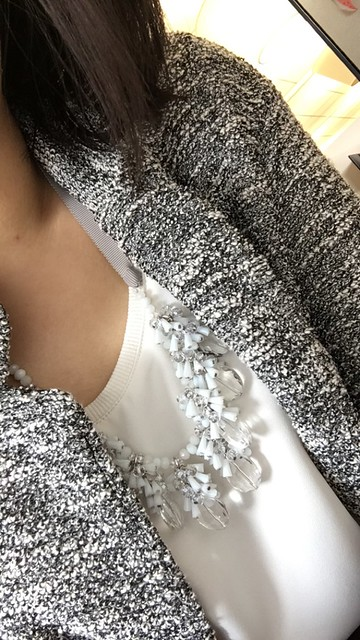 LOFT Dangling Crystal Ribbon Necklace