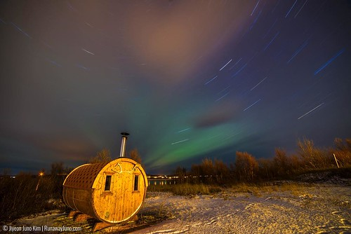 [30 Days of Goodness] The faint northern lights and a traditional sauna house in Lakselv, Norway (Finnmark). Finding these small gems in the north country is a joy. We drove all the way out to Lakselv to chase the northern lights. This was just the beginn