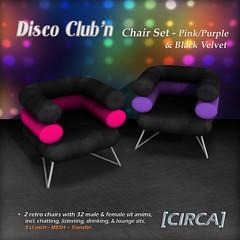 "@ GENRE ~ [CIRCA] - ""Disco Club'n"" - Chair Set - Pink_Purple_Blk Velvet"