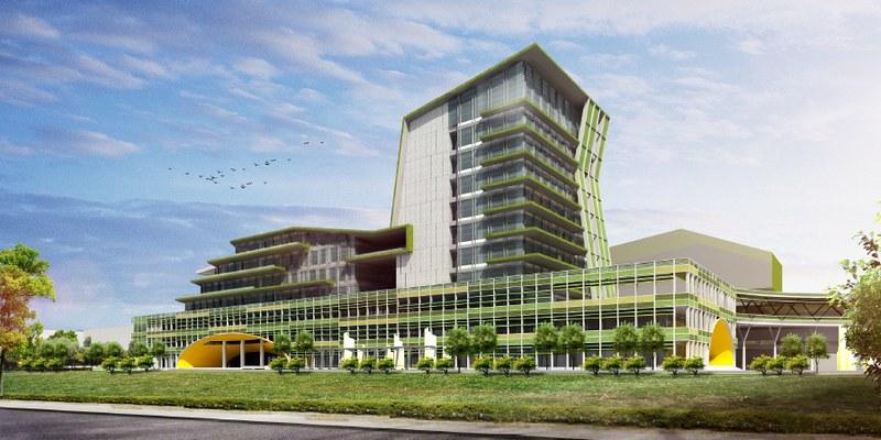 鳳山車站設計圖,大量體的高樓建築和過多商業空間,不符合在地居民的期待。圖片來源:交通部鐵工局