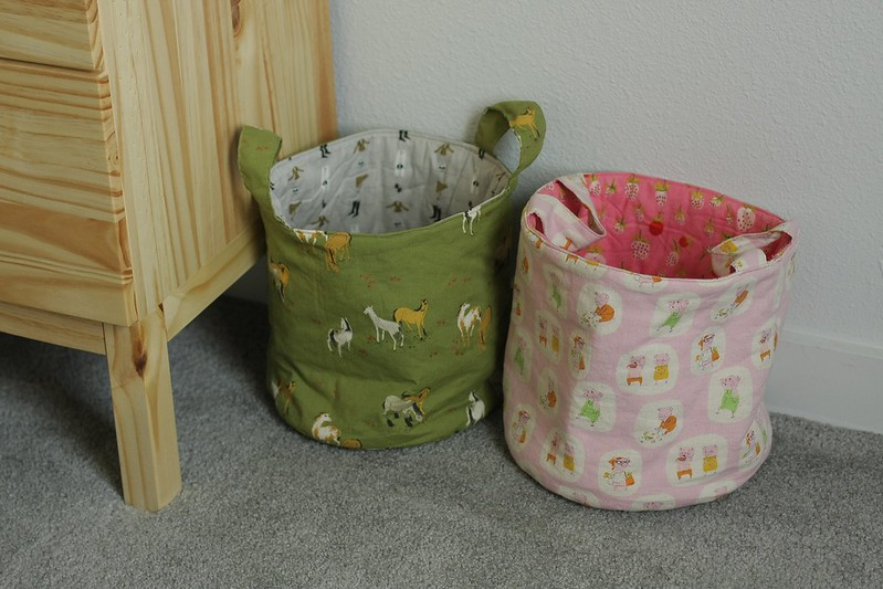 the girls' fabric buckets