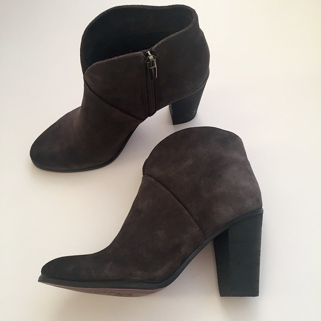 Vince Camuto Franell Bootie in charcoal grey leather