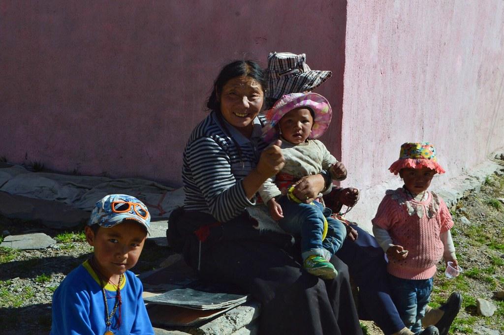 Tibetan woman and kids