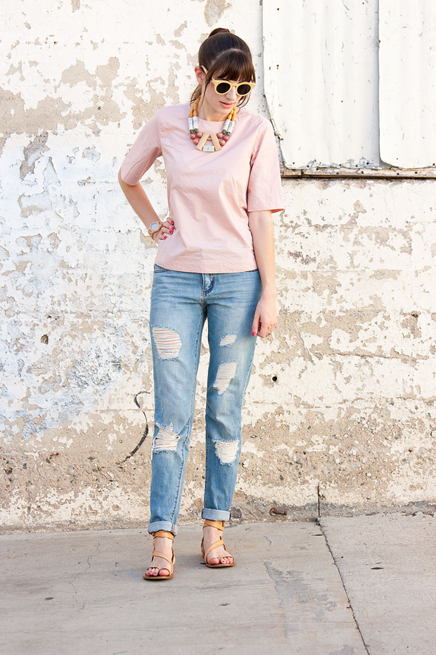 Everlane Shirt, Forever 21 Jeans, Statement Necklace, Wood Sunglasses