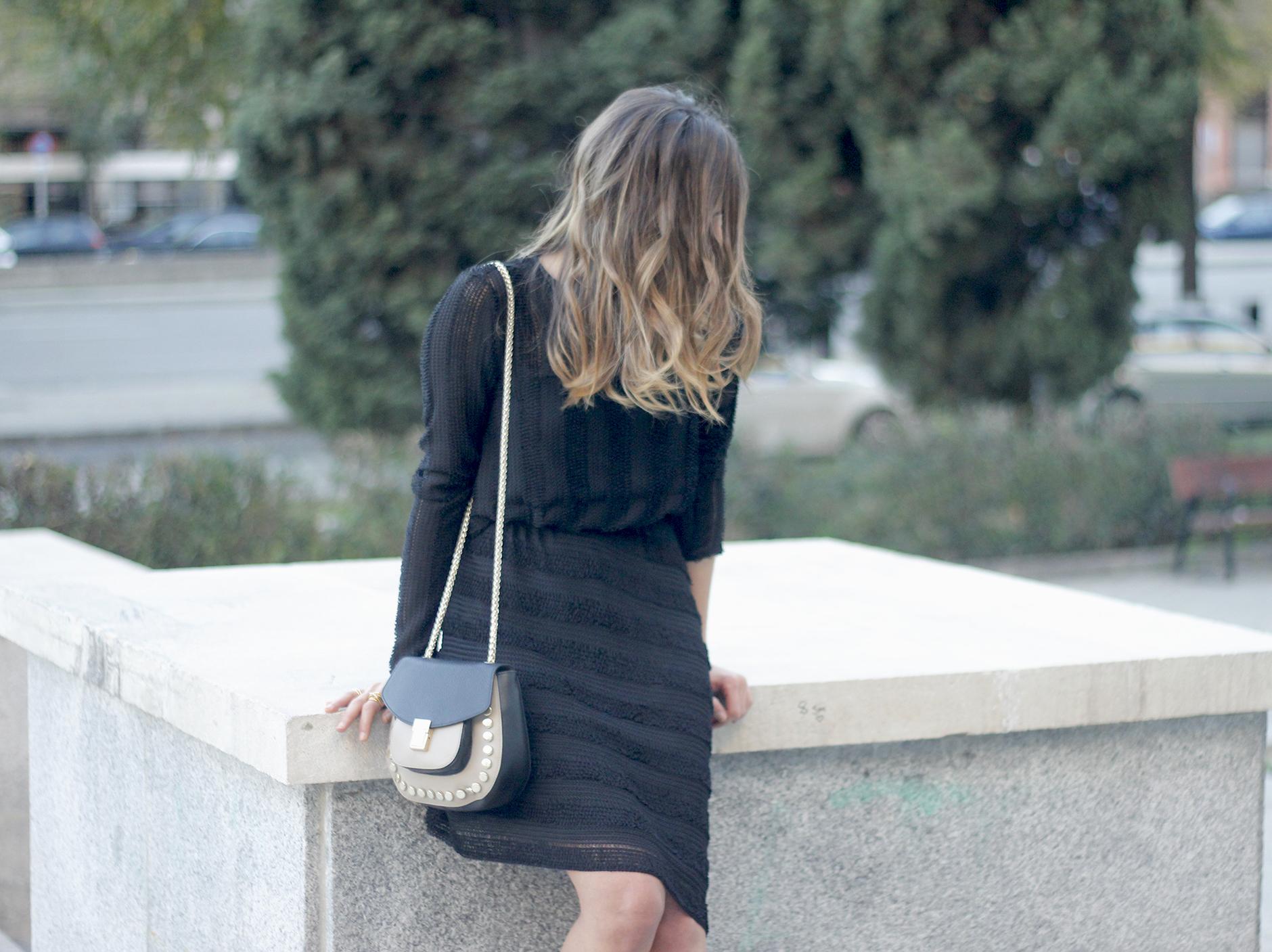 asymmetrical black dress uterqüe bag outfit streetstyle19