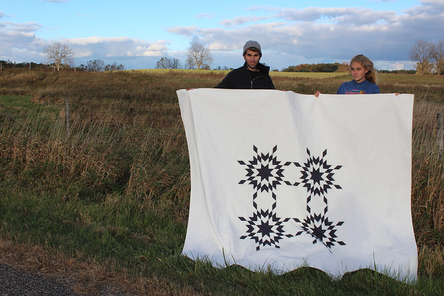 prairie stars quilt with my lovely helpers