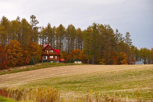 遠くからも見える赤い家
