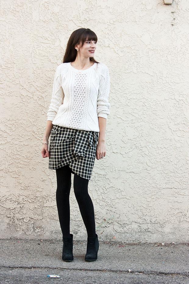 Plaid Skirt, Greylin SKirt, Cream Cable Knit Sweater