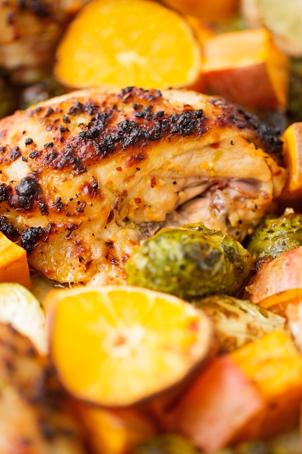 One sheet pan garlic and citrus chicken recipe little for Chicken and brussel sprouts skillet