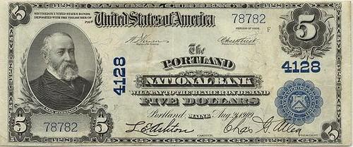 Portland national Bank note $5