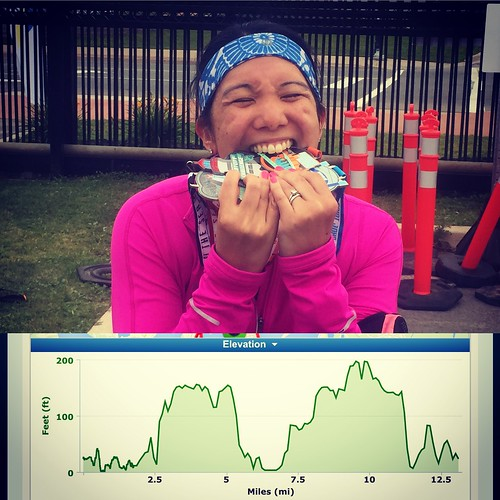 Mei eats her medals and a picture of the course elevation.