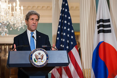 U.S. Secretary of State John Kerry participates in a press conference with Republic of Korea (ROK) Minister of Foreign Affairs Yun Byung-se at the U.S. Department of State in Washington, D.C., on October 19, 2016. [State Department photo/ Public Domain]