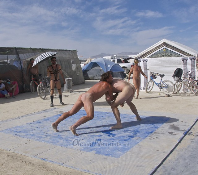 naturist wrestling camp Gymnasium 0024 Burning Man, Black Rock City, NV, USA