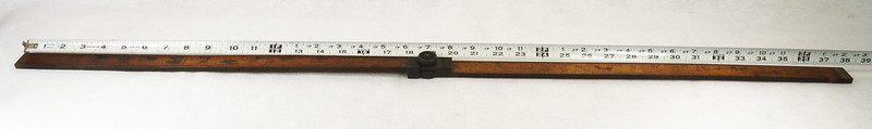 RD14826 Antique Sliding Yardstick ES & Co.  38 inch Brass Sides, Ends and Hardware DSC06544