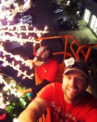 My clients wonder why I'm hard to reach.  ...it's always something! Lightning storm on the horizon and we are in a boom trying to fix a tree topper!  It feels great tonight tho!     #boom #wayup #thechristmaslightguy #busy #keepyourpantson