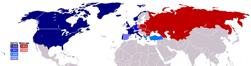 Border of NATO and Warsaw Pact from 1949 to 1990