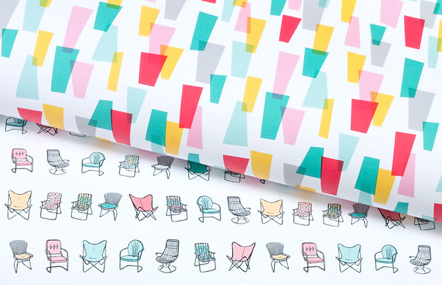 Retro Mid Century Chair and Jazzy Gift Wrap by Vitamini