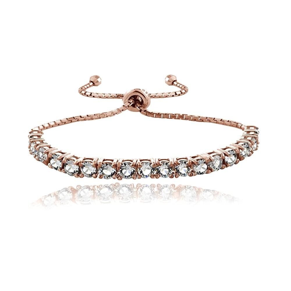 18k rose gold over sterling silver swarovski elements adjustable bracelet ebay. Black Bedroom Furniture Sets. Home Design Ideas