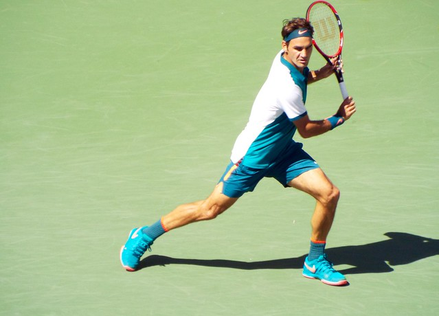 Roger Federer returning serve at the U.S. Open