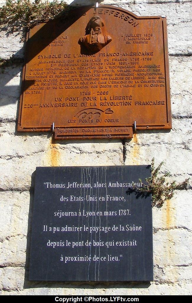 Plaque Thomas Jefferson sur les quais de Saône à Lyon