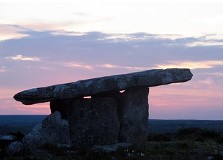Poulnabrone Dolmen at sunset, The Burren, County Clare, Ireland