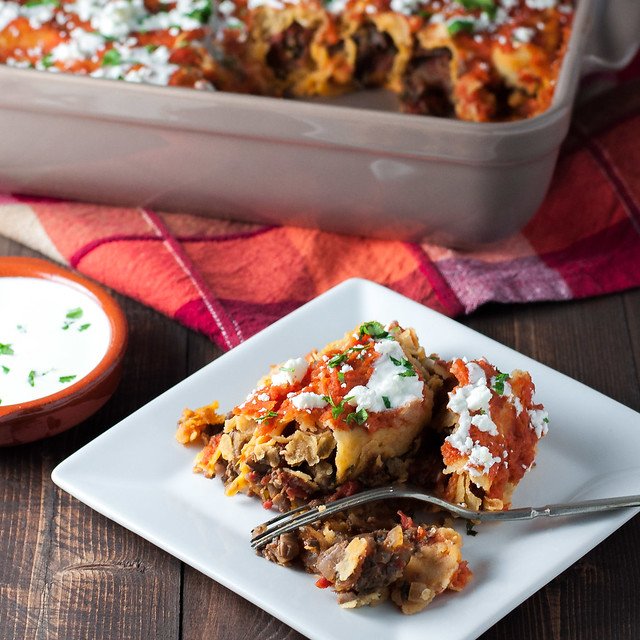 Healthy, gluten-free enchiladas with meaty mushroom filling (easily vegan)