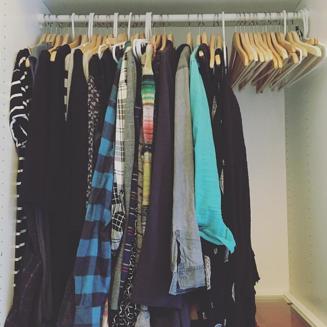 #slowfashionoctober week 2: SMALL. This is my current (7 months pregnant) wardrobe. Not shown are a couple pairs of jeans, leggings and two tank tops. This is actually not very different from what my closet would look like if I was doing the capsule wardr