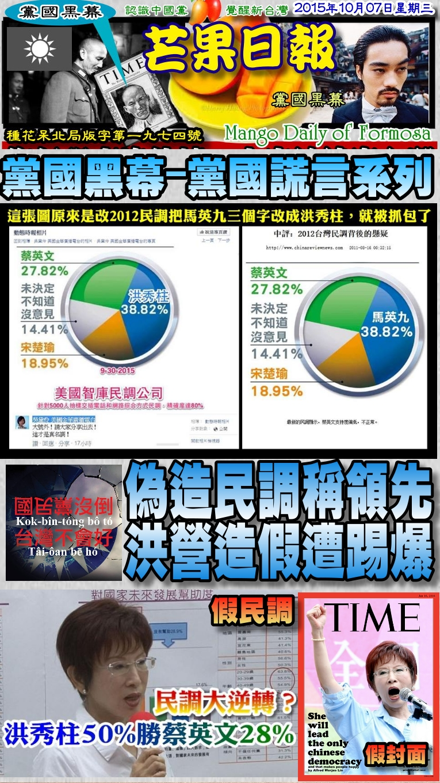 151007芒果日報--黨國黑幕--偽造民調稱領先,洪營造假遭踢爆