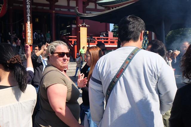 Claire at Sensō-ji Temple