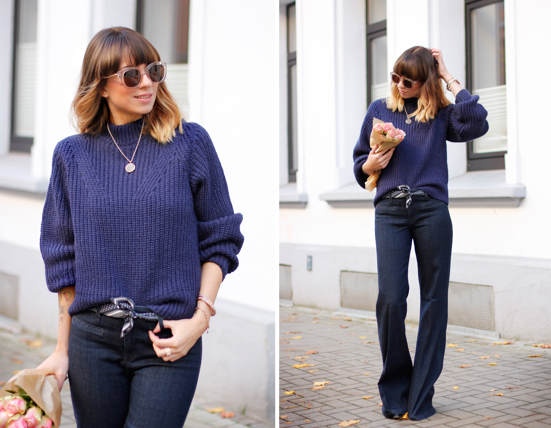 edited knit AG jeans lespecs sunglasses pippa and jean accessories outfit ootd fashionblogger cats & dogs ricarda schernus blue outfit sailor french blog 1