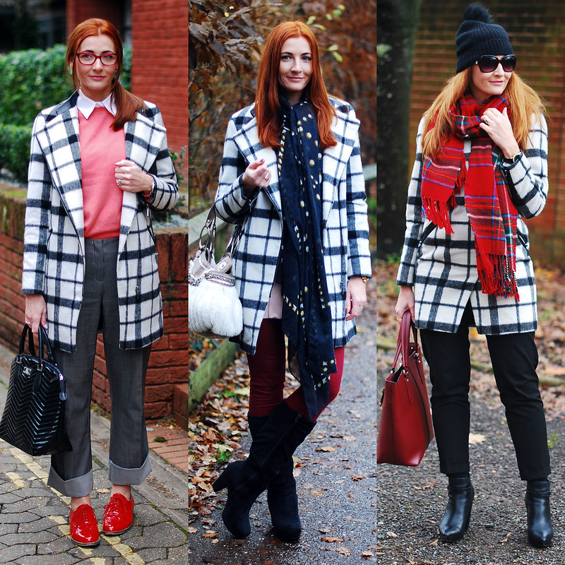 3 ways to wear a black and white check coat | Not Dressed As Lamb