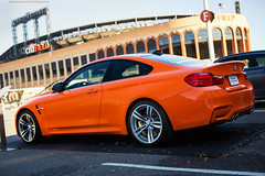 BMW M4 in New York Mets Orange
